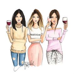 Cocktail Girl Illustration Art ~H. Fashion Prints, Fashion Art, Girl Fashion, Fashion Design, Best Friend Drawings, Bff Drawings, Illustration Mode, Girly, Best Friends Forever