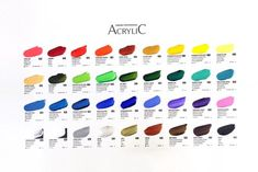 61 brilliant colors High quality ShinHan Professional pigments and acrylic emulsion High degree of lightfastness Fast drying time Acrylic Colors, Paint Colors, Chart, Mini, Paint Colours, Colored Pencils