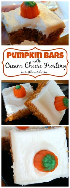 Pumpkin Bars with Cream Cheese Frosting - Looking for an easy fall dessert that everyone will love? Try this moist and delicious pumpkin bars with cream cheese frosting. Easy, simple and tasty! #dessert #bars #cookiebars #cakebars #pumpkinbars #creamcheesefrosting #pumpkin #autumn #fall #recipe #numstheword #easy #pumpkindessert