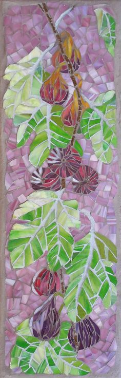 """'Ripening: Figs' Stained glass mosaic on wedi board, 8x24"""""""