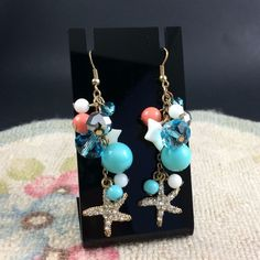These #starfish danglers catch the light beautifully and are a fun addition to warm weather outfits.