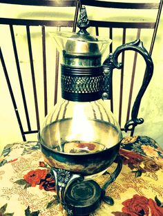 Vintage Antique Silver and Glass Coffee and Tea Carafe - Old Kitchen Serving Set