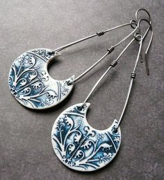 Athena Earrings - Porcelain & Sterling by RoundRabbit, via Flickr