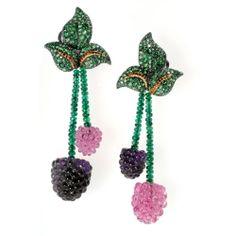 Raspberries-earrings-Pink Tourmaline Amethyst Tsavorite Emerald and Yellow Diamonds set in White Gold