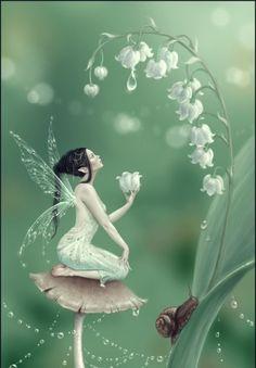 'Lily of the Valley Flower Fairy' Art Print by Rachel Anderson Fantasy Kunst, Fantasy Art, Fantasy Fairies, Fantasy Love, Fairy Land, Fairy Tales, Lily Of The Valley Flowers, Fairy Pictures, Love Fairy