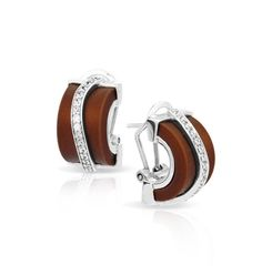 Enrapture Collection; Wavy Brown Earrings; Showcases fine, hand-strung strands of Italian rubber and rows of dazzling stones on rhodium-plated, nickel-free sterling silver.