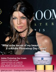 Fergie photoshopped and the picture without photoshop - never feel bad for how you look without hours of makeup and photoshop.