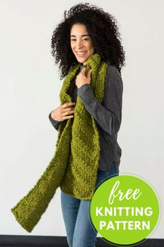 """Knit this cozy scarf in no time! A diagonal textured pattern keeps the knitting interesting as you churn out this fun, fast scarf. One size Completed Scarf Measures:Approximately 8"""" wide x 72"""" long You will need: 2 hanks Berroco Macro Yarn, shown in color Arctic Poppy #6735 Size US 19 str"""