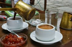 finding your way around that long Greek dinner menu is crucial because getting to know the true Greek cuisine is your chance to ensure an authentic travel experience of the country, and that's a chance you don't want to waste. How To Make Coffee, I Love Coffee, Coffee Art, Making Coffee, Coffee Break, Coffee Cups, Greek Dinners, Greek Cooking, Turkish Coffee