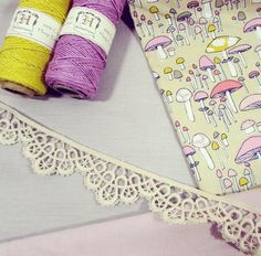cute craft supplies - fabric, twine, and lace