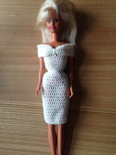 Ravelry: Fashion doll off the shoulder dress pattern by Maz Kwok Crochet Doll Dress, Crochet Barbie Clothes, Doll Clothes Barbie, Barbie Dress, Barbie Doll, Barbie Knitting Patterns, Barbie Clothes Patterns, Baby Dress Patterns, Clothing Patterns