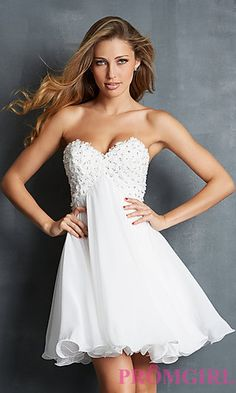 Short Strapless Empire Waist Dress at PromGirl.com
