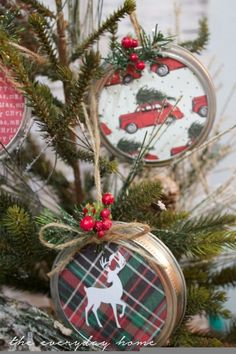 DIY Mason Jar Lid Christmas Ornaments                                                                                                                                                                                 More