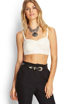 Crochet Lace Crop Top | Tops | Best Sellers | Women - 2000105637 | Forever 21 UK