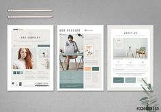 Stock template of Mint and White Flyer Layout with Pale Peach Accents. Search more similar templates at Adobe Stock Flyer Design Templates, Newsletter Templates, Flyer Template, Creative Company, Creative Flyers, Corporate Flyer, Business Flyer, Ad Design, Layout Design