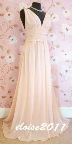 BNWT GRECIAN Pink Blush Jewel Chiffon Maxi Prom Evening Bridesmaid Dress 8 - 18   eBay