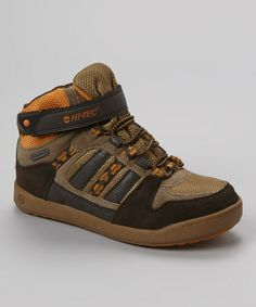 on #zulily! Chocolate & Taupe Omaha Hi-Top Sneaker - Kids by Hi-Tec #zulilyfinds.  Cool.