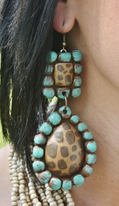 Canyon Cheetah and Brushed Turquoise Earrings  $38.95  http://www.giddyupglamouronline.com/catalog.php?item=4793
