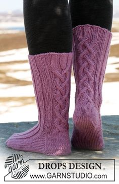 """DROPS Socks with cables in """"Karisma"""". ~ DROPS Design"""