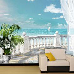 Wall Murals: terrace sea 0 - All About Balcony Poster Xxl, Beach Wall Murals, Invert Colors, Seaside Village, Classic Garden, 3d Wall, Pretty Pictures, Interior Design Living Room, Wall Design