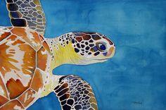 """Blue Sea Turtle""  One of my watercolors  http://www.artistsites.org/TrellisWatercolors/"