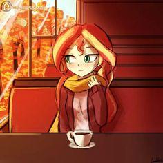Sunset Shimmer. Autumn coffee. MLP Equestria Girls.