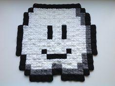Lakitu, Cloud, Super Mario Brothers, afghan, blanket, square, pixel, pixelated, 8bit, 8-bit