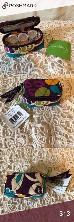 Vera Bradley Plum Crazy Pill bottles & case New with tag, pattern placement on item will vary since I more than 1 of these Vera Bradley Accessories