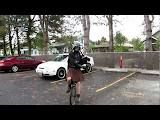Darth Vader playing the bagpipes on a unicycle. Be afraid of the dark side of the force.