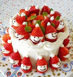 Strawberry Santa Pavlova Cake