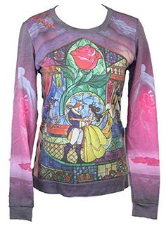 Beauty and The Beast (Disney) Girls Light Sweatshirt - Stained Glass Dance Pic (Small) Red