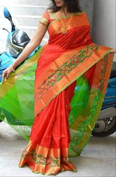 Uppada Pure Silk Saree In Orange And Green With Ikkat Border . Uppada pure silk saree in orange and green with Ikkat border u orange and green - Orange Things Silk Sarees With Price, Soft Silk Sarees, Cotton Saree, Uppada Pattu Sarees, Ikkat Silk Sarees, Pochampally Sarees, Handloom Saree, Georgette Sarees, Designer Sarees