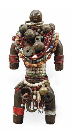 Africa | Doll from the Namji people of Cameroon | Wood, glass beads, metal, fiber