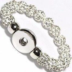 Snow White Swarovski Crystal Beaded 1 Button by ArmCandyCompany