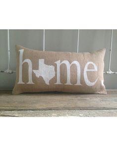 Texas Home Burlap Pillow - White  http://www.countryoutfitter.com/products/94653-texas-home-burlap-pillow-white