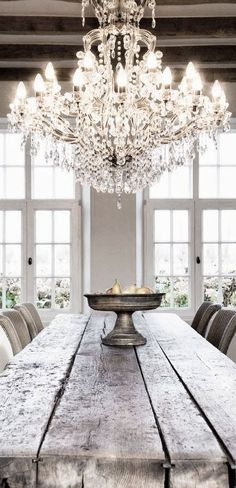 glamorous chandelier with a wooden farm table interior decor home design kitchen | Home is Where the Heart Is