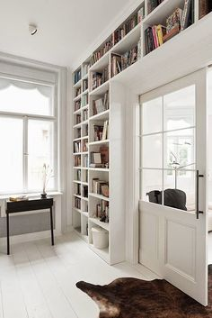 Apartment Harmonizes With Nature Through Art Nouveau Elements White Wall Paneling, Library Bedroom, Bookcase Shelves, Bookcases, Home Libraries, Construction Design, Small Apartments, Interior Inspiration, Home And Living
