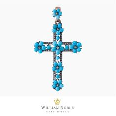 We love this antique turquoise English cross, designed in 1880, and set in yellow gold and silver. The cross was designed around the end of the Victorian Era when symbolism, vibrant color and religious symbols, like crosses, were popular. Stop by to explore our historic antique cross collection. #Antique #Cross #Jewelry #Victorian