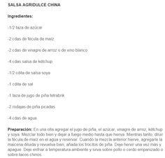 Receta simple de Salsa Agridulce