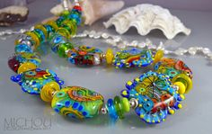 Dancing Corals - Art Glass Necklace by Michou Pascale Anderson by MichouJewelry on Etsy https://www.etsy.com/listing/157704460/dancing-corals-art-glass-necklace-by
