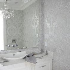 The Cross Decor Design - bathrooms - powder room, powder room wallpaper, metallic damask wallpaper, silver damask wallpaper, silver metall...