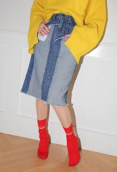Destroyed High-Rise Denim Skirt | STYLENANDA