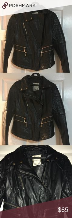 Faux leather jacket in black Beautiful faux leather jacket in black. It zips diagonally. This is cute jacket that's been worn once. Fun date night jacket! It's says it is a large but fits more like a medium. It is a snug fit. Lizette Jackets & Coats
