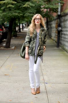 military jacket with casual outfit