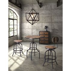Give your home bar an industrial chic vibe with the Zuo Modern Twin Peaks Adjustable Height Bar Table - Distressed Natural . Vintage Industrial Furniture, Industrial House, Industrial Interiors, Industrial Style, Industrial Dining, Industrial Lighting, Industrial Kitchens, Industrial Basement, Warm Industrial
