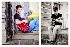 Senior Picture with Guitar ... Love the black and white however color in the guitar