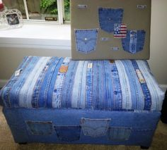 My friend Nicole covered a toy chest with jeans and made a matching bulletin board with the pockets.