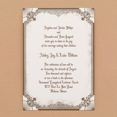 Vintage Frame - Wedding Invitations by The Office Gal Carlson Craft  A showy frame around your wording generates the vintage vibe on this wedding invitation