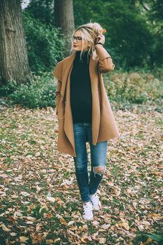 Fall Style // camel coat and distressed denim