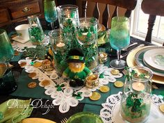 St. Patrick's Day tablescape.
